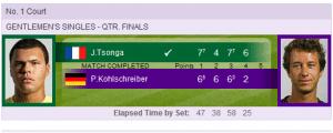 2012 Wimbledon quarterfinal results tsonga vs Kohlschreiber