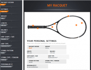 Head Tennis Customization Dashboard