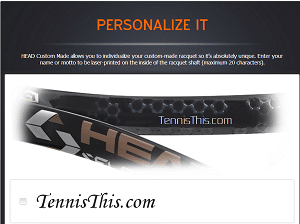 Head Tennis custom text inside throat