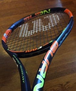 Wilson Burn 100S tennis racket colors with black tennis string
