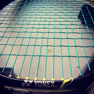 Diadem Solstice Power 17 tennis string installed