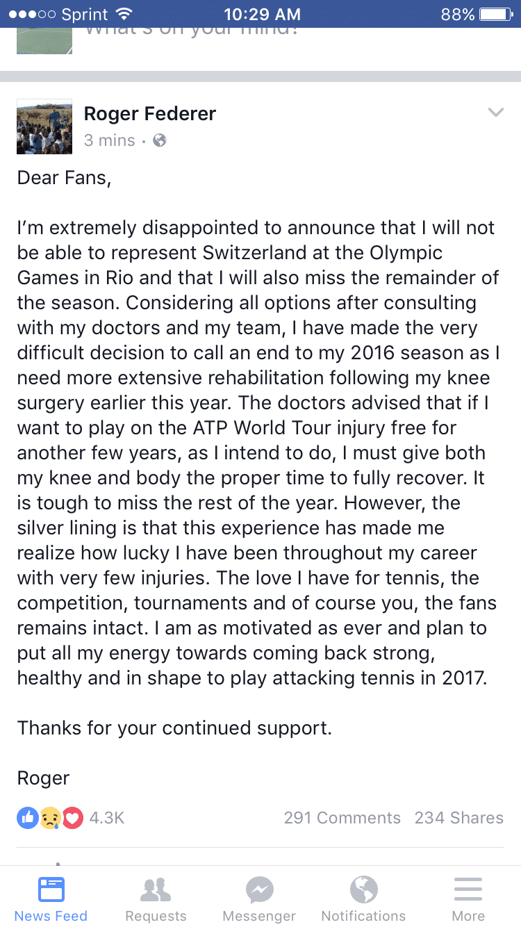 roger federer withdraw Facebook 2016