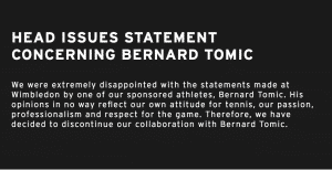 head tennis bernard tomic statement 2017 wimbledon