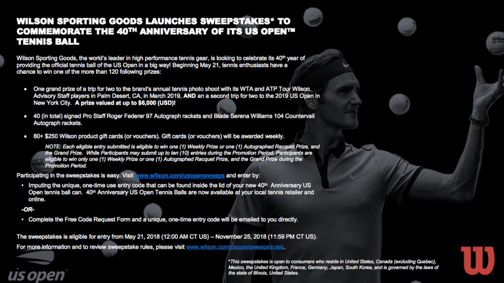 Wilson sweepstakes us open 40th anniversary