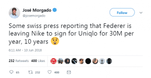 federer to uniqlo jose twitter