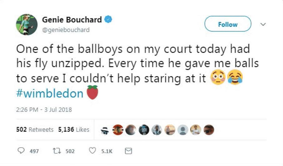 Bouchard Wimbledon Tweet