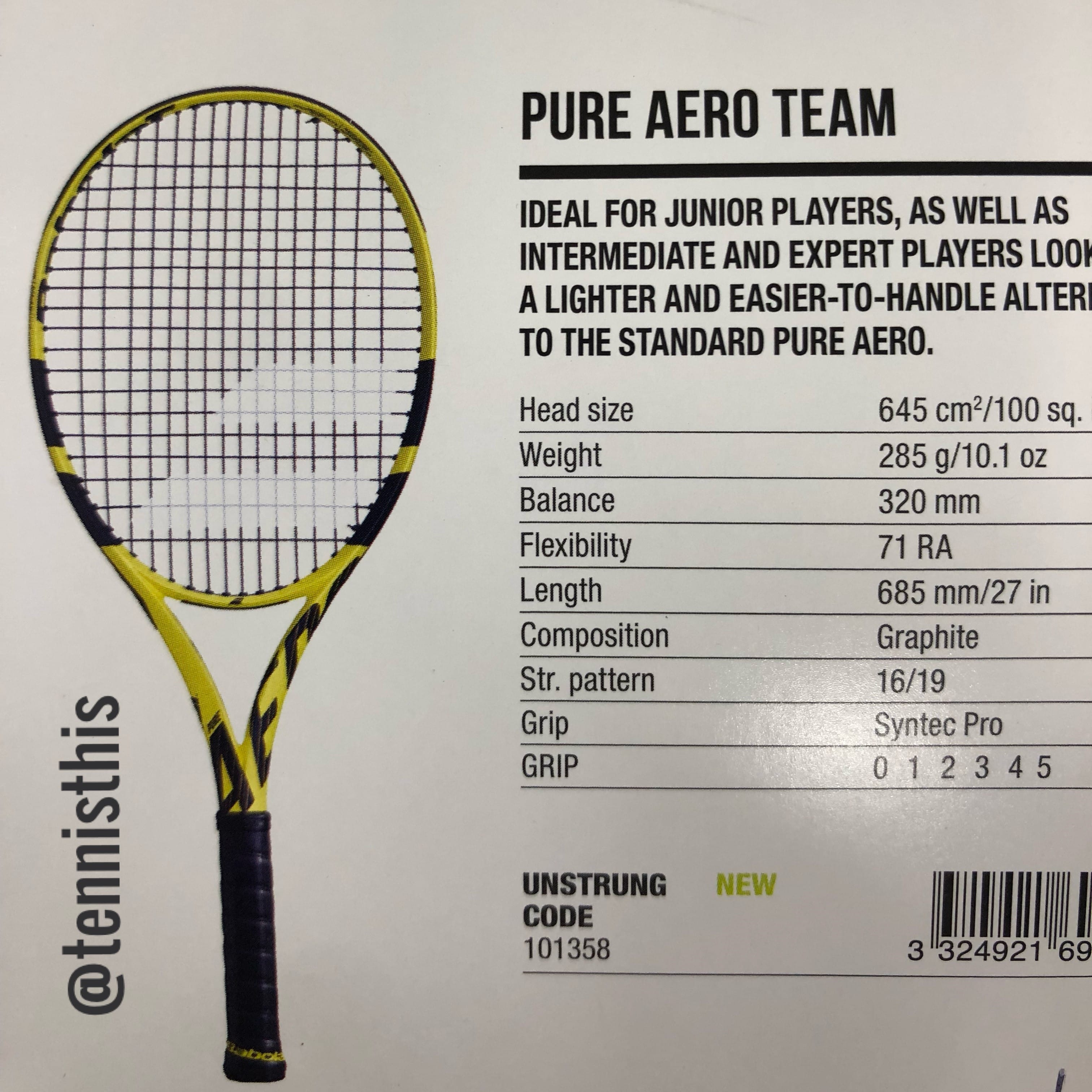 ba23310a663 2019 Babolat Pure Aero | Check out the specs on the 2019 Babolat ...